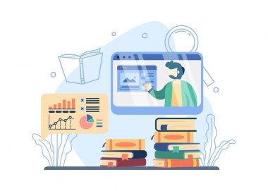 Online courses concept. a man explain graph on screen. online teacher, home schooling, stack of books.suitable for landing page, mobile app, sticker, poster, flyer, and banner. vector illustration icon