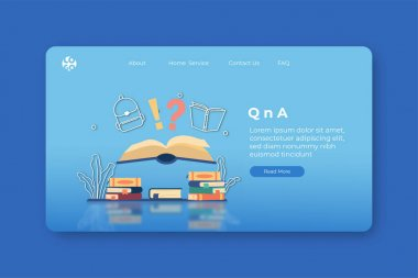 Modern flat design vector illustration. QnA Landing Page and Web Banner Template for Education application. FAQ, Digital Education, Digital Library, Support center, E-book, Digital Bookstore. icon