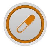 Pilulky kulatá ikona na bílém pozadí