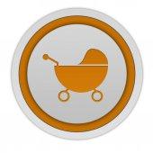 Stroller circular icon on white background