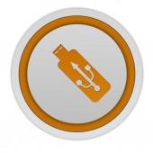 Kulatá ikona USB na bílém pozadí