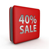 Prodej čtyřicet procent čtvercovou ikonu na bílém pozadí