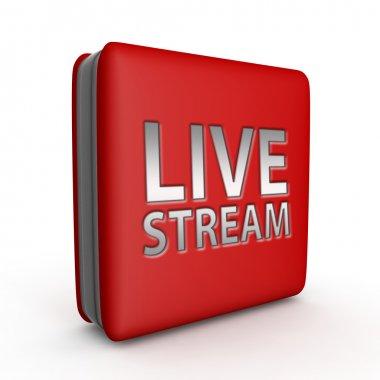 Live stream square icon on white background