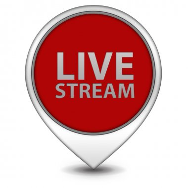 Live stream pointer icon on white background