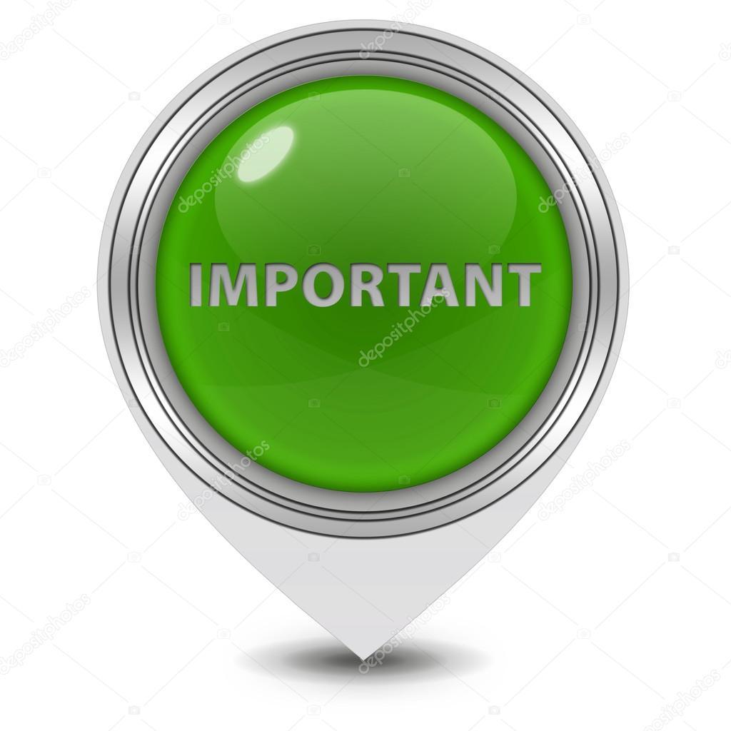 Important pointer icon on white background