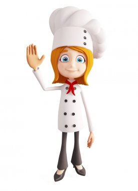 Chef character with saying hi pose