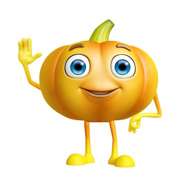 Pumpkin character with saying hi pose