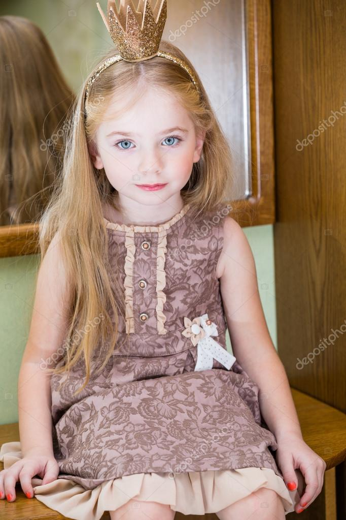 The Little Princess With Crown Near Mirror Stock Photo Sharlotta