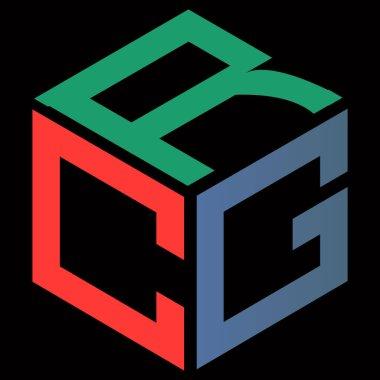 Minimalist simple vector clean monogram logo cube letter c g r icon