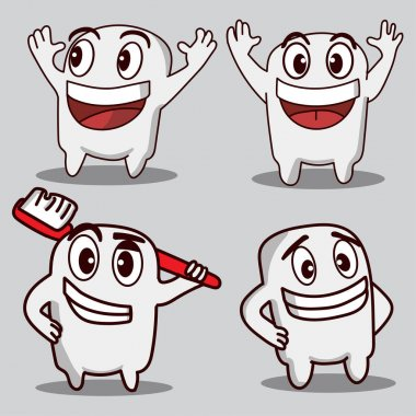 Tooth cartoon mascot character packs of various styles icon