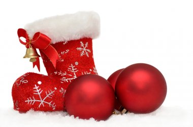 Santas red boot with baubles in snow on white background