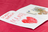 happy birthday mama card with red heart and euro money