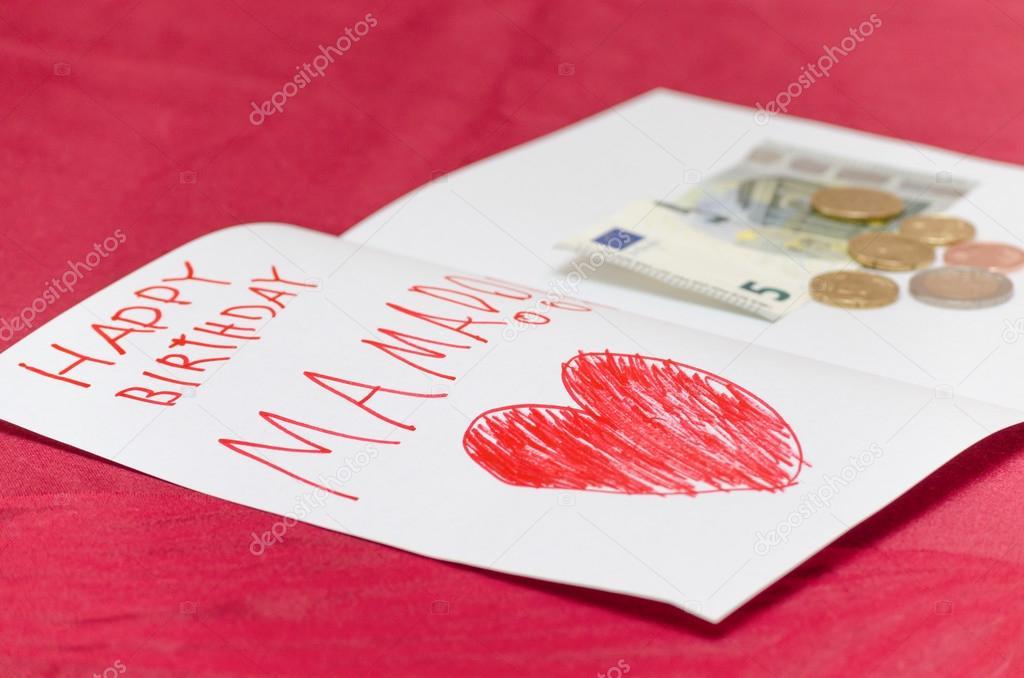 boldog szülinapot mama Boldog születésnapot mama kártya val piros szív és euró pénz  boldog szülinapot mama