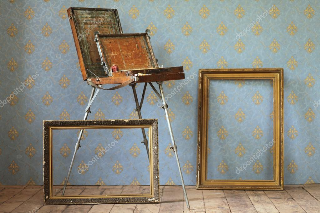 Old wooden painting table top, and old frames. — Stock Photo ...