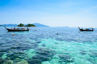 view to snorkeling a coral reef at Koh-Lipe island, thailand