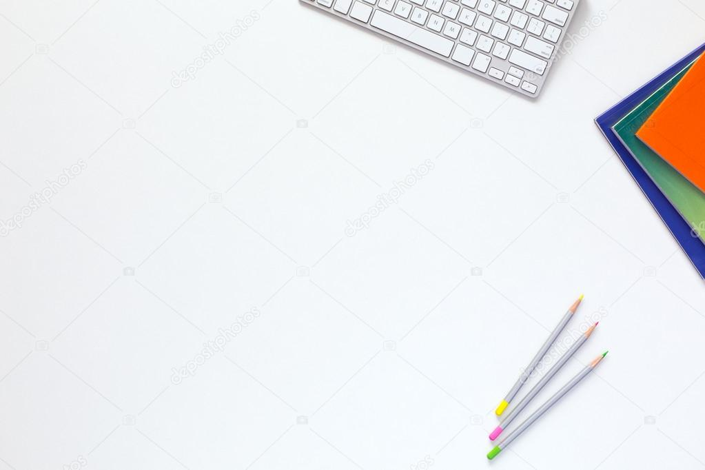 white table top view. Delighful Table Office White Desk Top View With Business And Every Day Life Items U2014 Stock  Photo Throughout Table
