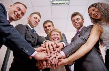 Friendly harmonious business team
