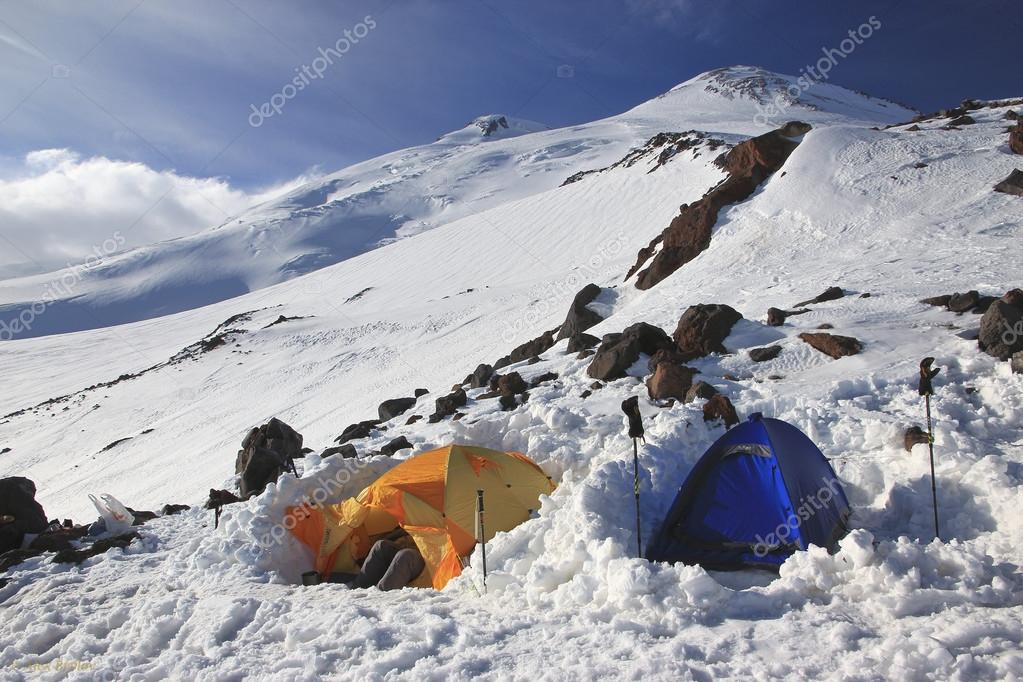 Advanced camp of alpine expedition