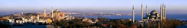 Super wide angle panorama of Istanbul old city district at daylight