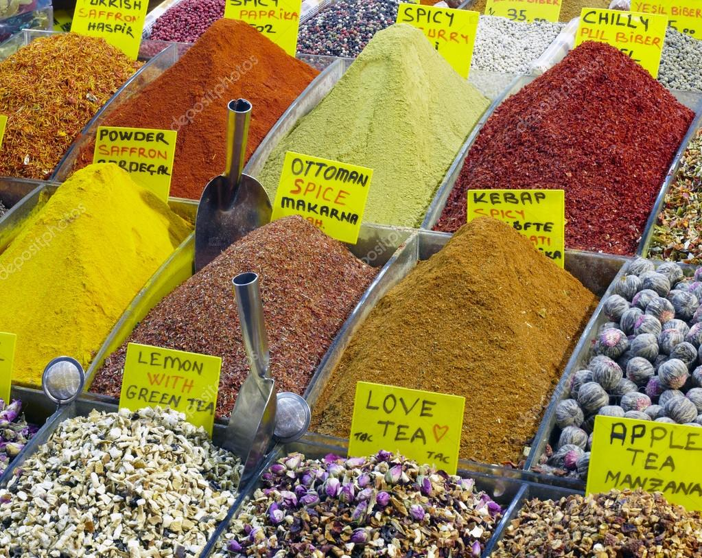 Eastern bazaar - selection of spices and tea
