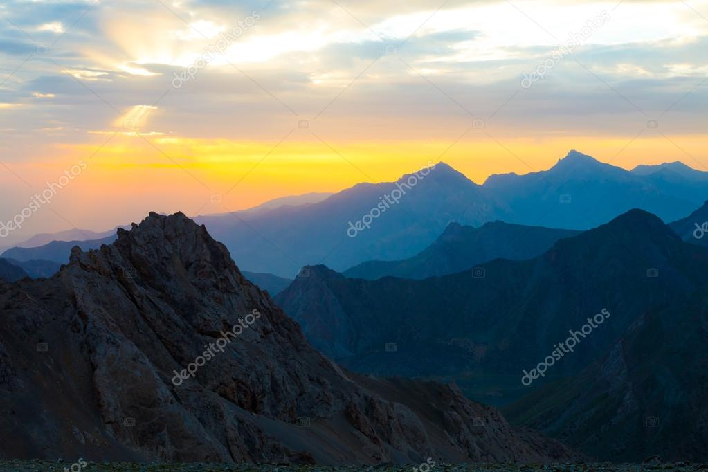 Sunset mountain panorama