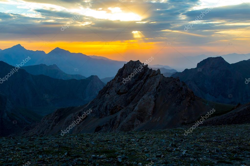 Sunset mountain panorama