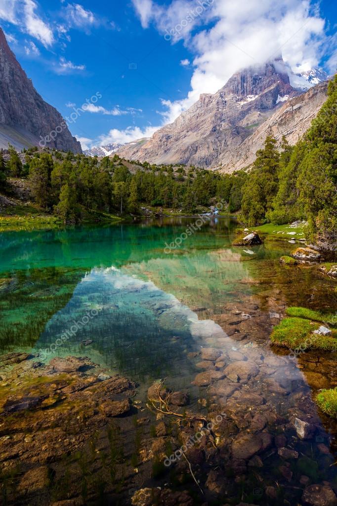 Mountain lake view vertical