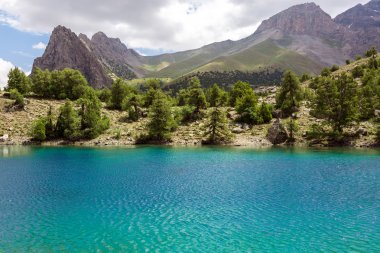 Blue lake and forest terrain in Asia