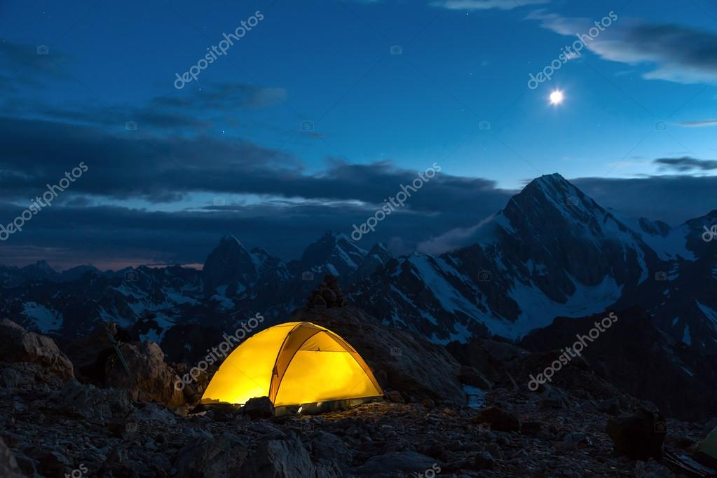 Twilight Mountain Panorama and Tent