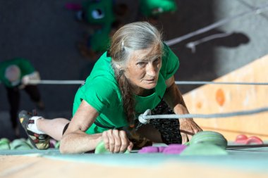 Aged Lady Doing Extreme Sport