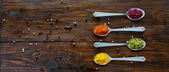 Fotografie Variety of Eastern Spices in Silver Spoons