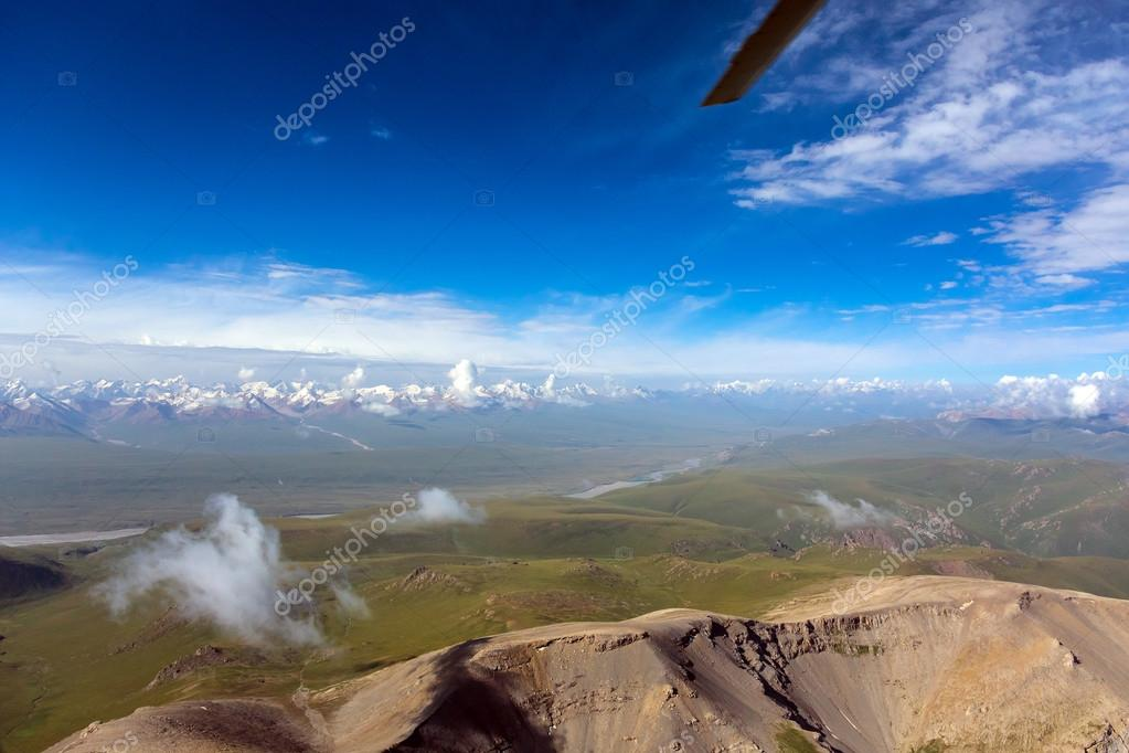 Central Asia Landscape Areal View from Helicopter