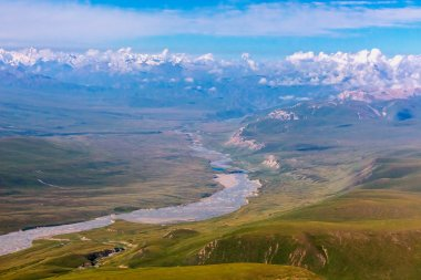 Aerial View of Central Asia Landscape