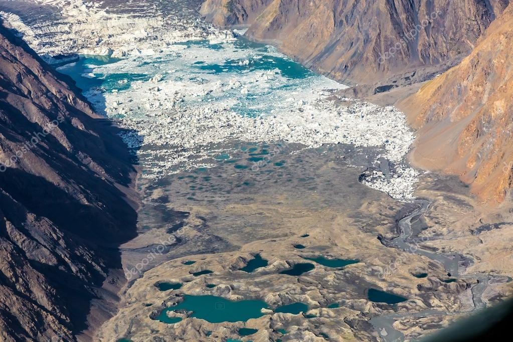 Moraine Glacier Lake Aerial View Mountain Canyon and Summits