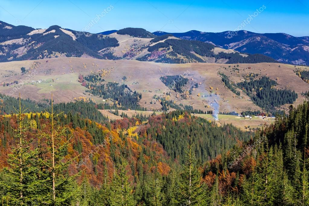 Carpathian Mountains Autumnal Panorama