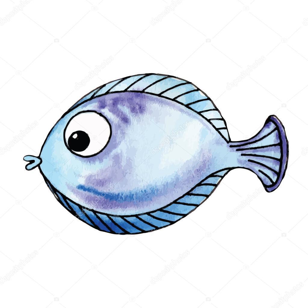 Cute Watercolor Fish Stock Vector C Radhanamini 64726119