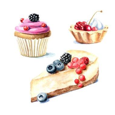 Hand drawn watercolor desserts
