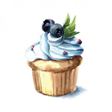 Hand drawn watercolor cupcake