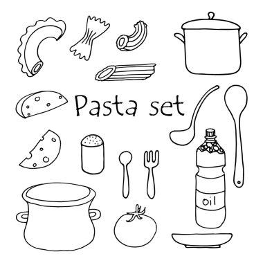 Hand sketched pasta set.