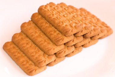 Pyramid of biscuits, on white