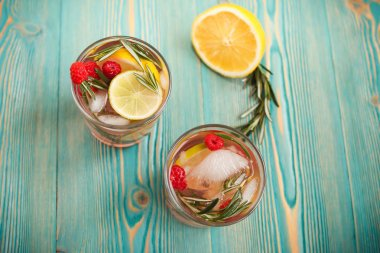 Detox water in trandparent cups