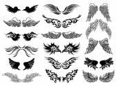Fotografia Insieme di vettore del tatuaggio delle ali