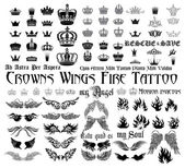 Wings, Crowns, fire, monograms.