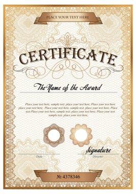 Golden detailed certificate