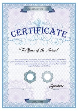 Blue detailed certificate