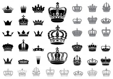 Set of 40 detailed crowns