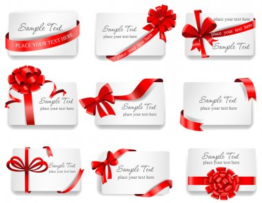 Set of beautiful cards with red gift bows with ribbons. Vector illustration. clip art vector