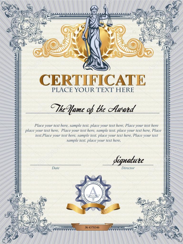 Zertifikatvorlage mit Femida — Stockvektor © Firin #65054085