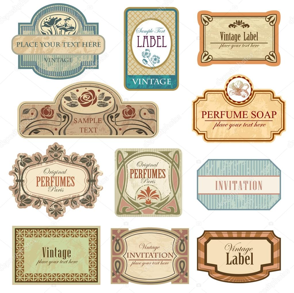 Ornate vintage labels in style Art Nouveau.