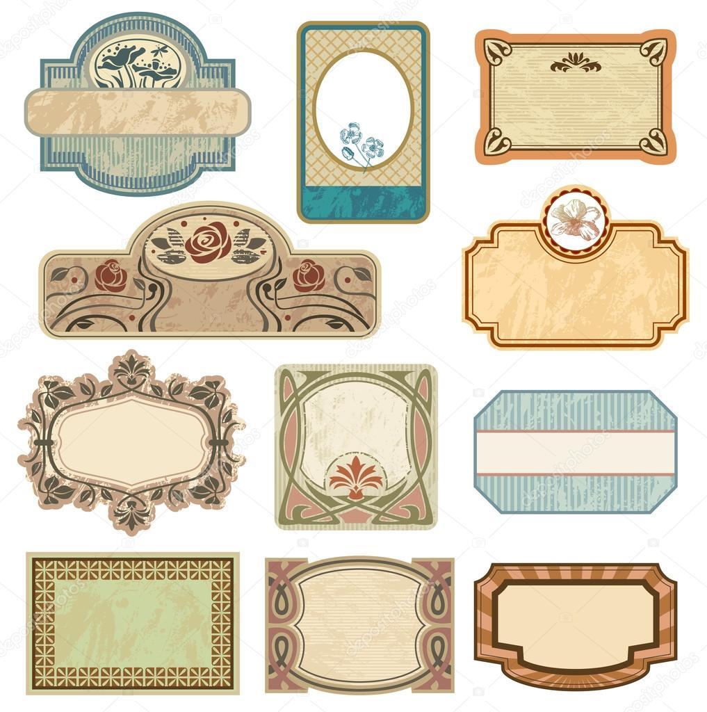 Ornate vintage labels.